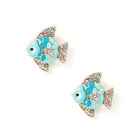 Enamel and Crystal Fish Stud Earrings