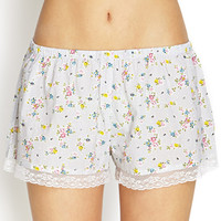 FOREVER 21 Vintage-Inspired Sleep Shorts Cream/Multi Small
