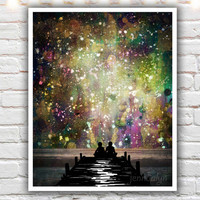The Universe Was Ours - GICLEE PRINT, mixed media painting, surreal galaxy art, couple sitting on a dock, celestial sky painting