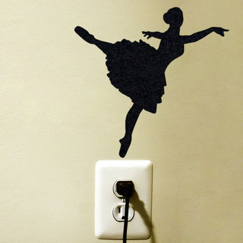 Ballet Dancer Velvet Laptop Sticker - Ballerina Wall Decal - Ballerina Nursery Wall Decor - Gift For Dancer