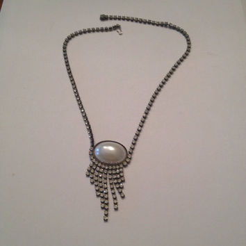 Vintage Pearl Cabochon Rhinestone Tassel Necklace Costume Jewelry