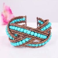 Fashion Multi StrandColors Beaded Cuff Bracelet at online fashion jewelry store Gofavor