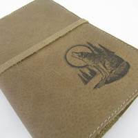 large leather journal sketchbook custom hand printed