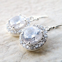Bridal Earrings Round Cubic Zirconia Sterling Silver by SomsStudio