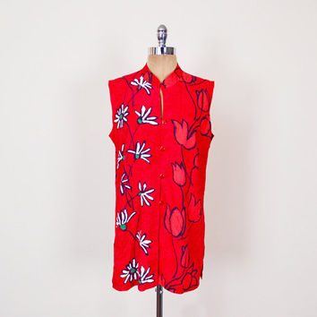 Jams World Shirt Red Floral Blouse Sleeveless Tank Top Long Tunic Top Hawaii Shirt Floral Shirt Floral Print Shirt 90s Women L Large