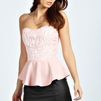 Gemma Beaded Bodice Strapless Peplum Top