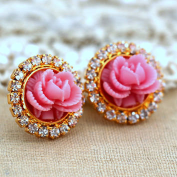 Pink Rose crystal stud earrings, swarovski earrings,shabby chic style earrings, gift for woman, romantic jewelry - 14 k Gold Plated earrings