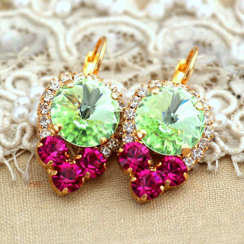 Mint Green Fuchsia pink Drop earrings. swarovski drop earrings, Rhinestone lever back earrings, gift for woman, mother of the bride earrings