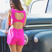 Heart You Mean It Romper - Hot Pink