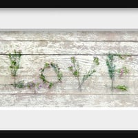Woodland Flower Still Life Photograph LOVE spelled out for wedding decor green pink cottage chic white chippy paint 10x5