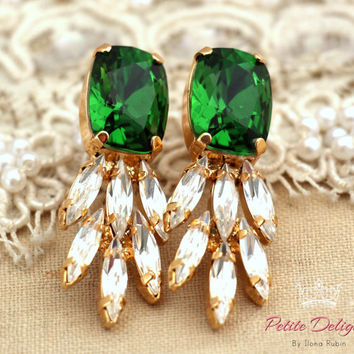 Green white clear Estate earrings, Swarovski Crystal earrings,Rhinestone jewelry, Chandelier earrings-Gold plated statement earrings