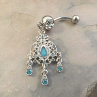 Aqua Blue Crystal Belly Button Jewelry Ring