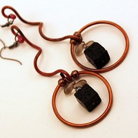 Copper Earrings, Copper Wire Scroll Work, Hoops, Lava Beads, Celtic | GaelicForge - Jewelry on ArtFire