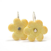 Banana Yellow Flower Bead Earrings Handmade by susansheehan