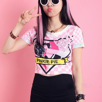 2014 Spring Summer Harajuku Pinkie Pie Pony Crop Top T-shirt from Moooh!!