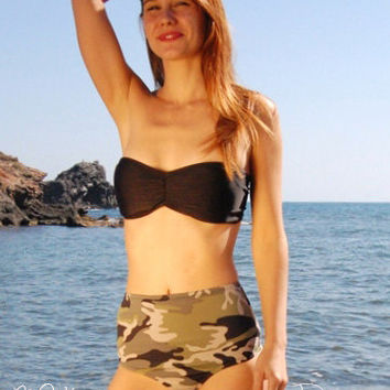 High-Waisted Brazilian Thong Bikini Bottom PAMPELONNE in Camo, by Makani Dream Swimwear