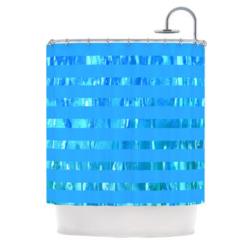 "Rosie Brown ""Wet Wild Stripes"" Aqua Blue Shower Curtain"