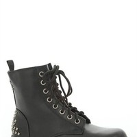 Lug Sole Combat Boot with Lace Up front and Pyramid Studs on Back
