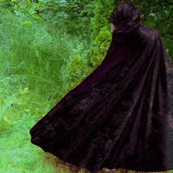 Black velvet hooded cape gothic Cosplay Costume Fantasy Wizard | PoppysWickedGarden - Clothing on ArtFire