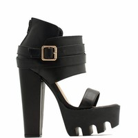 Rugged N Chic Single-Strap Heels