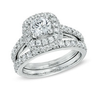 2 CT. T.W. Diamond Square Frame Bridal Set in 14K White Gold - View All Rings - Zales