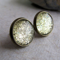 Gold Glitter Post Earrings  Antiqued Brass  by AshleySpatula