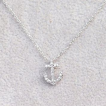 Micropave Setting of AAA Quality White Clear CZ Stones Thin Chain Cute Anchor Pendant Necklace Short Collarbone Necklace Wish Necklace Silver Color 18K Gold Plated Gift for Her JDP0529