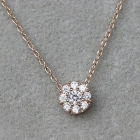 Micropave Setting of AAA Quality White Clear CZ Stones Thin Chain Full Pave Cluster Setting 9 in One Necklace Short Collarbone Necklace Wish Necklace 18K Gold Plated Gift for Her JDP0529