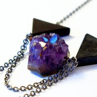 Black Stone & Amethyst Necklace Mixed Chain OOAK by MyrandaE
