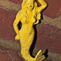 Bright Yellow MERMAID Cast Iron Wall Hook by AquaXpressions
