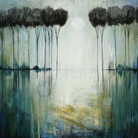 Rainy Day ABSTRACT painting trees forest marems made to order art   LaurenMarems - Painting on ArtFire
