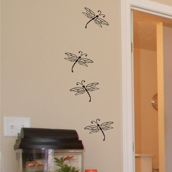 Dragonflies wall decal art stickers by ChuckEByrdWallDecals