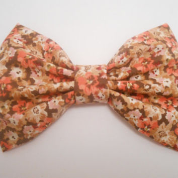 Fall Hair Bow, Floral Print  Hair Bow, Fabric Hair Bow, Retro Big Bow #113