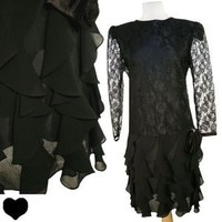 Vintage 80s Black SHEER LACE Ruffled Cocktail Party PROM Dress L Long Sleeves | eBay