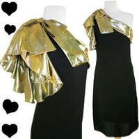Vintage 70s 80s GOLD Lame One Shoulder DISCO Party PROM Dress M L Black Cocktail | eBay