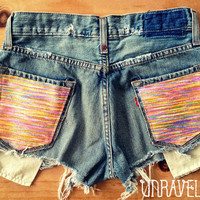 Levi Denim Shorts Multi Color Tribal Pockets by UnraveledClothing