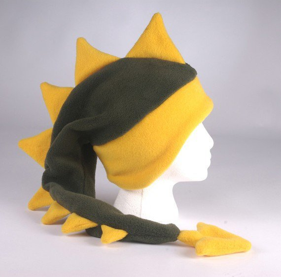 Fleece Dragon Hat Dark Green / Yellow Gold by ningenheadwear