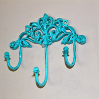Wall Metal Hook /Turquoise /Bright Shabby Chic by AquaXpressions