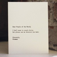 dear people of the world letterpress card by shopsaplingpress
