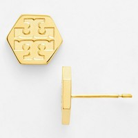 Tory Burch Logo Hexagon Stud Earrings