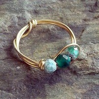 Green Fire Agate Gemstone Ring 14k Gold Fill earthegy Stone