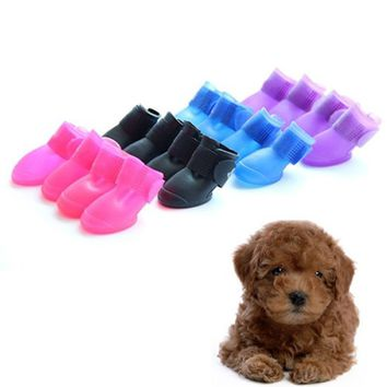 Namsan Puppy Dog Shoes Rainproof Candy Colors Rubber Rain Boots 4/set