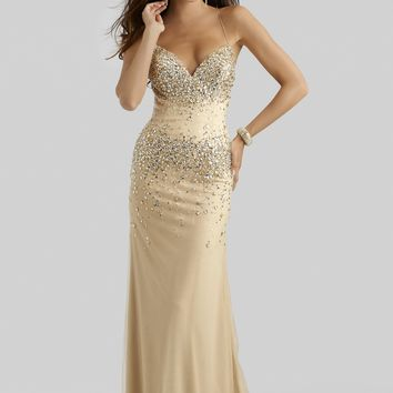 Clarisse 2400 Champagne Beaded Evening Gown