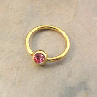 16 Gauge Gold Cartilage Hoop Earring Tragus with Pink Crystal
