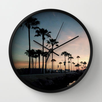 Palm Tree Marina Lane Wall Clock by RichCaspian | Society6