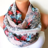 Red Roses and Dots Loop Infinity Scarf Soft and by fairstore
