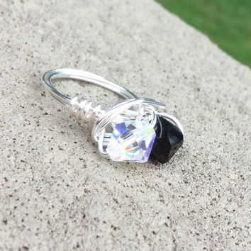 Ring swarovski crystal black and clear ab silver plated