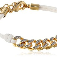 "Juicy Couture White Chain Link Friendship Bracelet 6.25"" + 1"" extender"