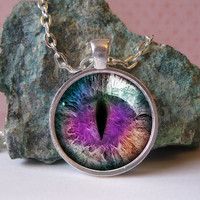 25mm purple dragons eye in silver circle pendant by Aleareashop