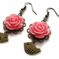 Pink Rose Bridesmaid Earrings Floral Brass by TheBonnyBoutique